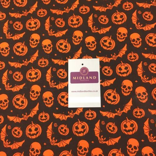 """Calabaza de Halloween Bat cráneo y Impreso Poli Algodón Tela 44/"""" M754 mTEX"""