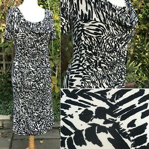 Country-Casuals-Animal-Print-Ruched-Jersey-Dress-Med-10-12-Black-amp-Ecru-Smart