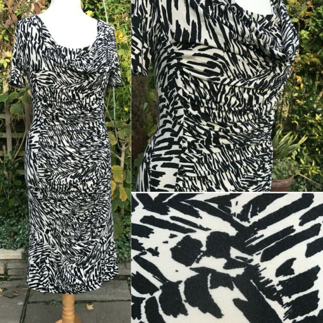 Country Casuals Animal Print Ruched Jersey Dress Med (10-12) Black & Ecru Smart