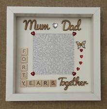 Handmade personalised Ruby 40th Wedding Anniversary gift frame Mum and Dad