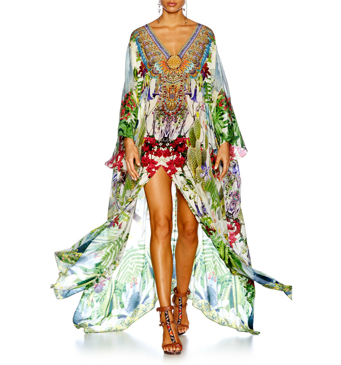 New CAMILLA FRANKS SILK CRYSTALS EXOTIC HYPNOTIC SPLIT FRONT    SLEEVE KAFTAN