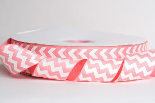 "10 Yards SHIP FROM USA White Chevron LIGHT CORAL 1.5/"" Grosgrain Ribbon 1 5"