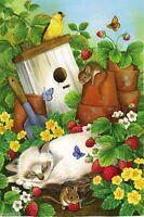 Strawberry Patch Cat Mice Summer Flowers Bird House 12x18 Garden Flag Banner