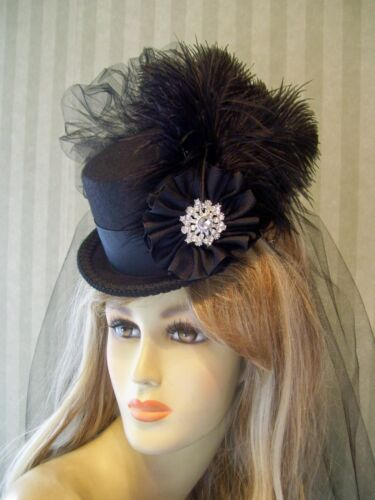 Steampunk Hats | Top Hats | Bowler    Black Mini Top Hat Lolita Steampunk Mini Hat Cosplay Top Hat Halloween  $42.99 AT vintagedancer.com