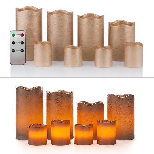 8 LED Echtwachskerzen Set mit Timer und Fernbedienug 4 Stumpen /& 4 Teelichter