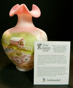 Limited-Edition-Hand-Painted-Fenton-4-Season-Covered-Bridge-Burmese-Glass-Vase