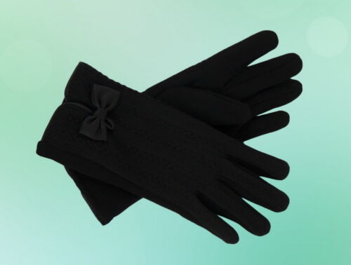 Damen Handschuhe Winter Stoff mit Schleifen Schwarz XS S M L XL