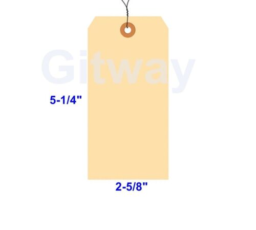 """1000 of 5 1//4/"""" x 2 5//8/"""" Size 6 Manilla Shipping Hang Tag Tags with Wire 13 Pt"""