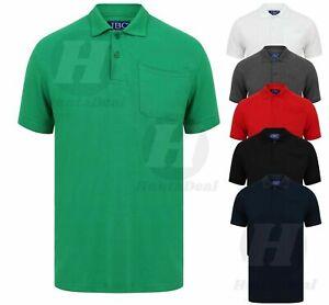 Homme-Coton-Uni-Polo-Shirt-Pique-Poche-Chemises-Golf-Travail-Casual-plus-grande-taille