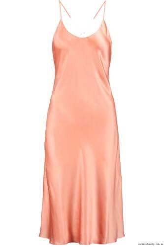 Olivia von Halle Remy pink peach coral silk dress