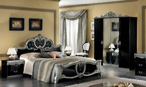 Details zu Barock Schlafzimmer Komplett Schwarz Silber Hochglanz  Italienische Stil Möbel