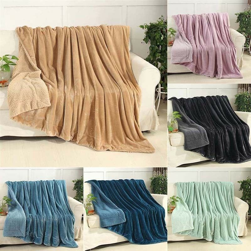 Fashion 150x200cm Soft Warm Fleece Blankets Rug Plush Throws Travel Sofa Bedding