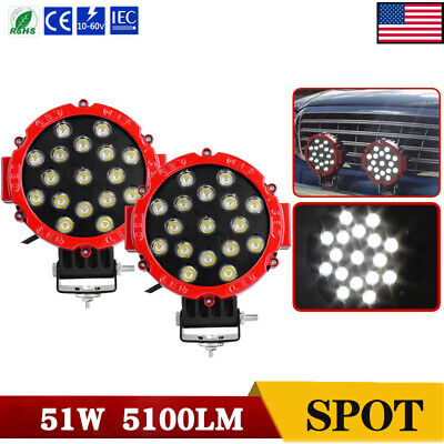 2pcs 7inch 51W Led Work Lights Offroad Bumper Fog Pods Round Tractor ATV 4WD SUV