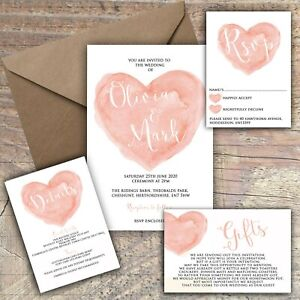 Personalised-Luxury-Rustic-Wedding-Invitations-PEACH-HEART-packs-of-10