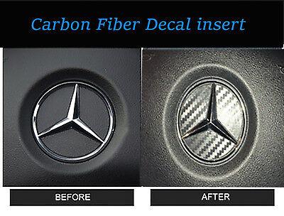 2 Steering Wheel Center Logo Carbon Fiber Insert Sticker Mercedes Benz 2002-2008