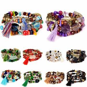 Bohemian-Natural-Stone-Three-Layers-Beads-Bracelet-Tassel-Jewelry-Lucky-Present