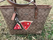 NWT Coach Signature Limited Edition Pizza City  F57614 And Keychain F5807