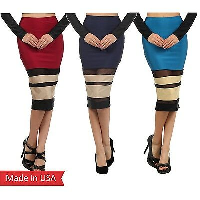 Women Trend Style Mesh Insert Stripe Wine Red Navy Color Fitted Pencil Skirt USA