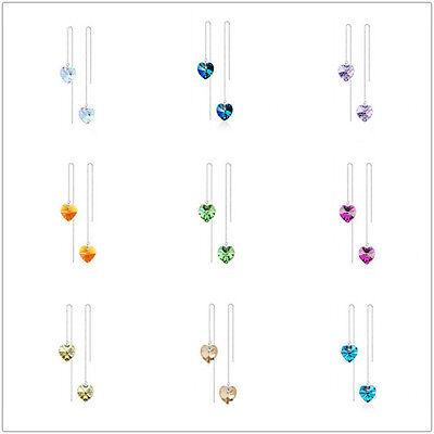 Austrian Crystal Heart Long Thread Box Line Chains Earrings Fashion Jewelry