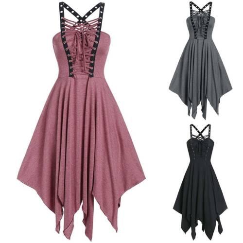 Womens Fancy Dress Gothic Punk Bandage Sleeveless Irregular Casual Midi Dresses