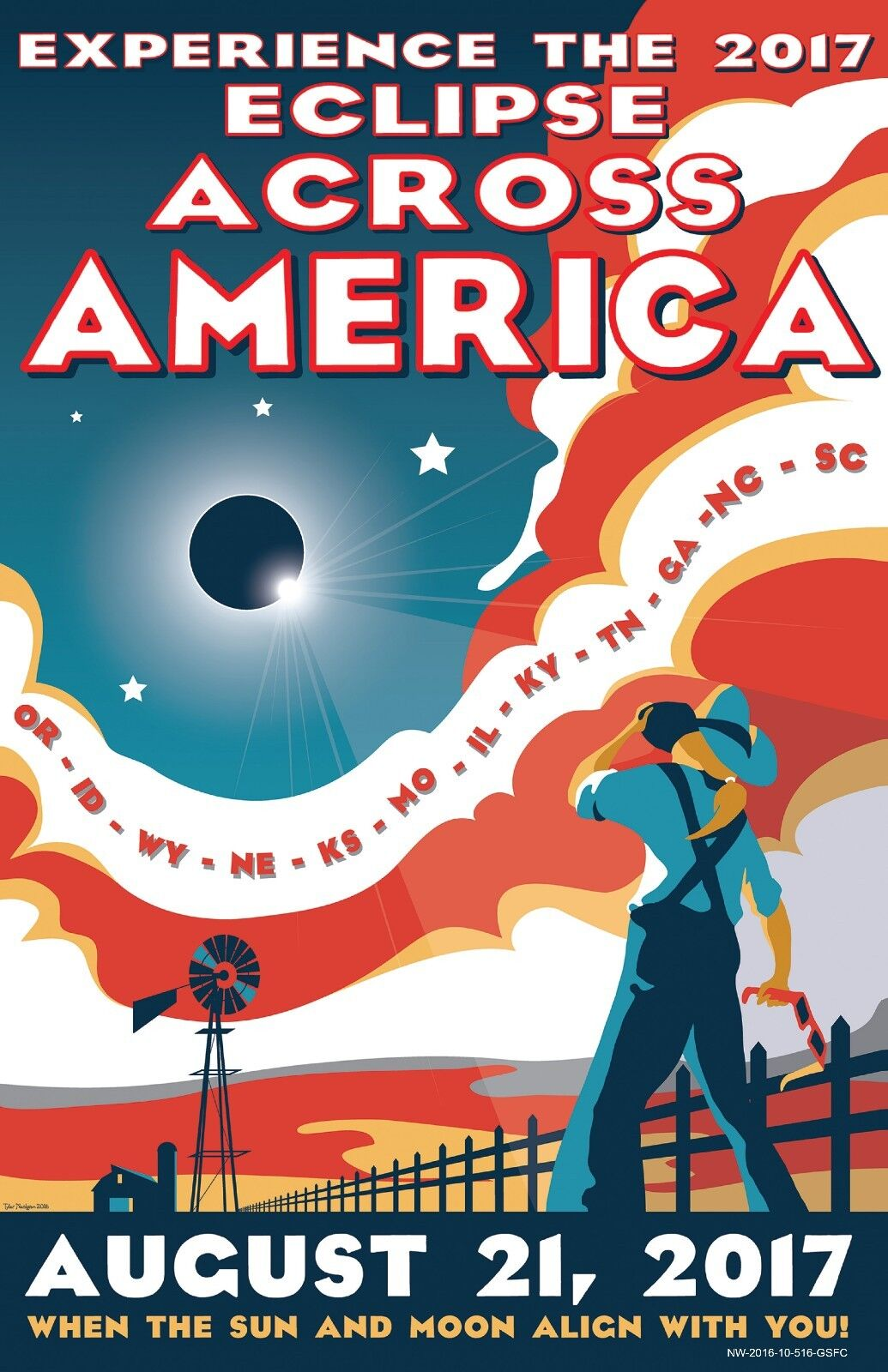 2017 Solar Eclipse Print, The 2017 Solar Eclipse Across America, 8x12  - 16x24