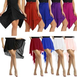Adult-Women-Ballroom-Asymmetrical-Chiffon-Ballet-Tutu-Dance-Skirt-Skate-Costume