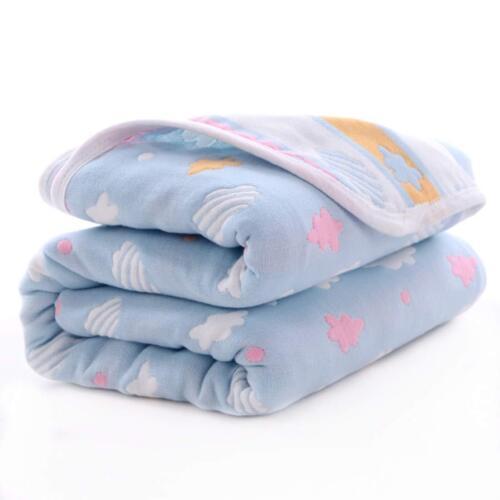 100/% Cotton Muslin Baby Toddler Blanket Hypoallergenic 5-Layer Lightweight
