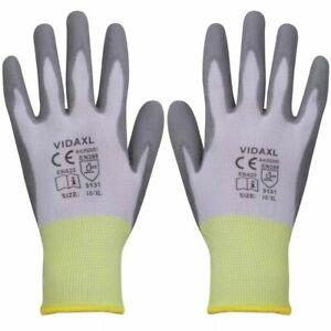 vidaXL-24x-Werkhandschoen-PU-Wit-en-Grijs-Maat-10-XL-Bescherming-Handschoen