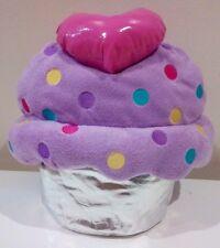 NWT PINK HEART RAINBOW DOTS CUPCAKE GIRLS BACKPACK BAG SOFT PLUSH RARE DESIGN