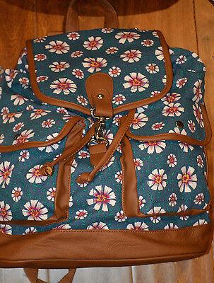 Candie's Black, Navy, Beige, Teal Floral Backpack Bookbag School, Travel