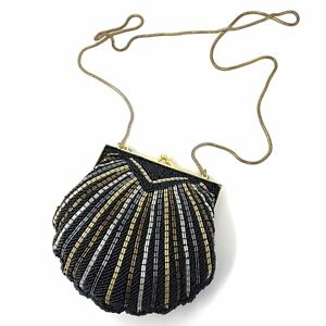 """VTG Black Silver Gold Glass Beaded Purse Bag Evening Clam Shell Gold Chain 6"""""""