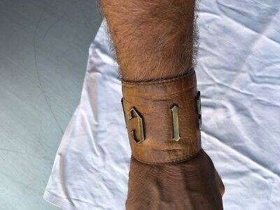 2019 Nuovo Stile John Richmond Rich Armband Lederband Bracelet Armlet Lederarmband Braun Leder Ultima Moda