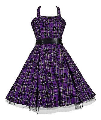 Alternative 50's Vintage Purple Tartan Tattoo H/neck Rockabilly Dress New 8 - 18 Waren Jeder Beschreibung Sind VerfüGbar