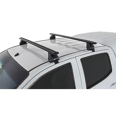 Rhino Pair of Vortex Roof Racks for TOYOTA Hilux 4dr Ute Dual Cab 2005 On Black