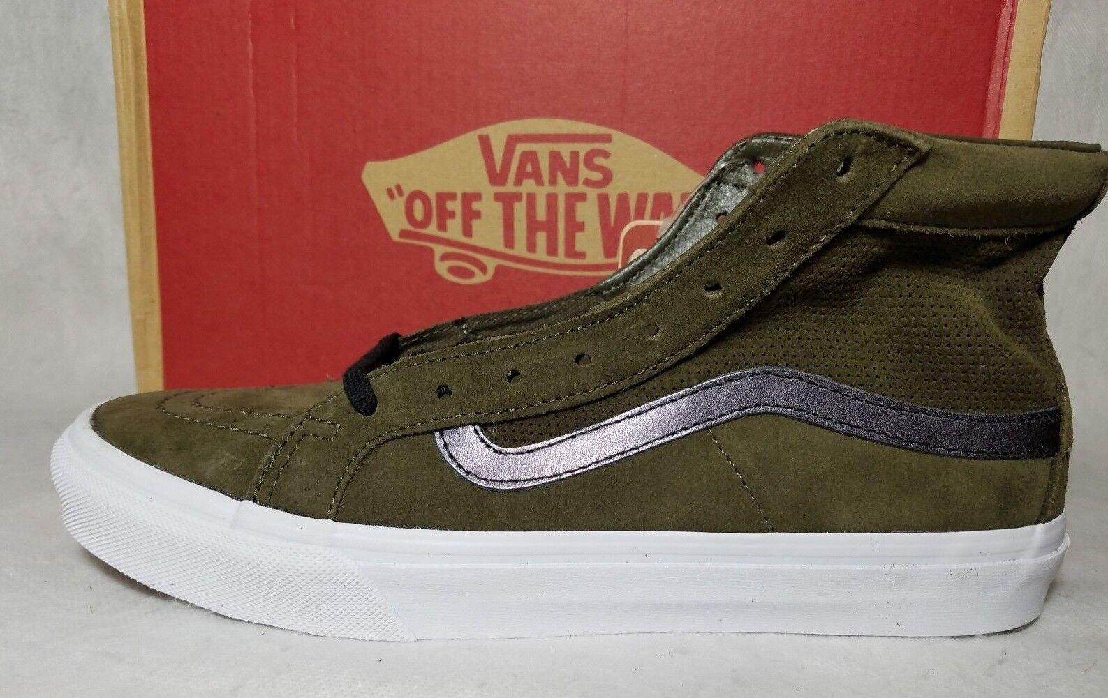 Vans New Sk8 Hi Slim Cutout Perf Green Suede Leather Tarmac White Shoe Women's 6