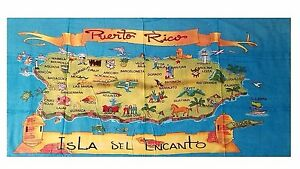 Puerto Rico Rican 30 x 60 INCHS Beach Towel (Cotton Twill) BORICUA ISLAND CITY