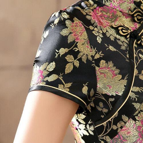 Luxuriös Orientalische Blumen Schwarz Chinesisch Langes Kleid Cheongsam Qipao
