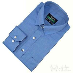 Camisa-Hombre-Tab-Cuello-Azul-Pequeno-Self-DE-CUADROS-CIERRE-ADHESIVO-OFICINA