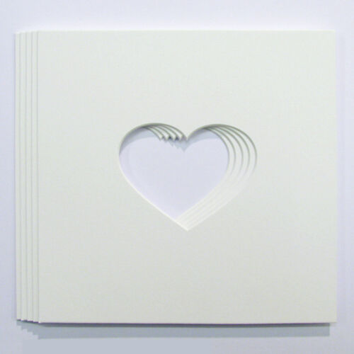 """Pack of 5 Heart Shaped Photo Mounts for Baby Scan Photos to Fit 8/""""x8/"""" frames"""