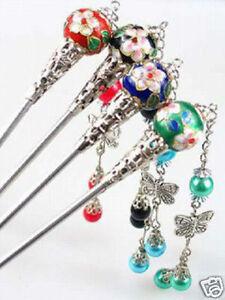 100PCS Wholesale prices- asia Tibet Silver and 4 color Cloisonne Hair Sticks