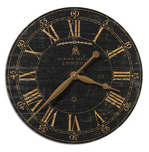 NEW-LARGE-BOND-STREET18-034-WEATHERED-CRACKLED-BLACK-amp-GOLD-ROUND-WALL-CLOCK