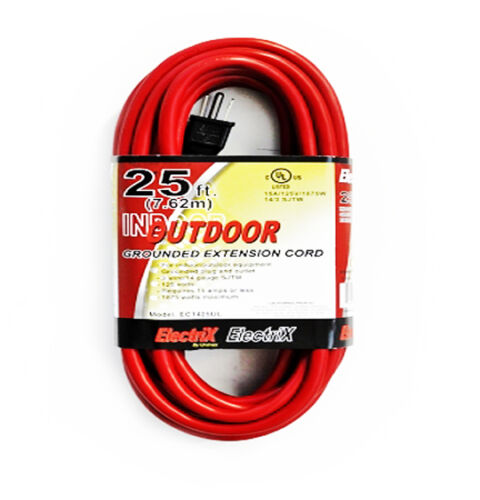 25ft Red Heavy Duty Electric Extension Power Cord 14 Gauge Cable Indoor Outdoor
