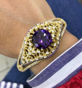 Turkish-Handmade-Amethyst-Sterling-Silver-925-Bracelet-Bangle-Cuff