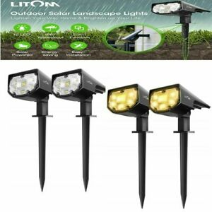 2X Litom LED Solar Powered Fence Wall Light Outdoor Garden Security Lamps