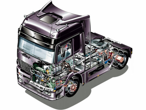 A3 Mercedes-Benz Actros tractor truck Cutaway Wall Poster Brochure Picture