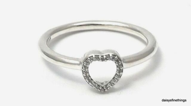 Authentic Pandora Puzzle Heart Frame Ring Clear Cz 196549cz 50 Eu 5