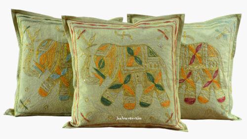 Lot de 3 Elephant Print 16X16 aari Work Indian Cotton Handmade Cushion Cover NEUF
