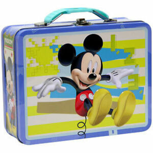 Tin Metal Lunch Snack Toy Box Embossed Disney Mickey Mouse Yellow Blue NEW