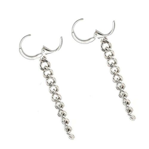 Women Long Chain Tassel Silver Plated Linear Drop Dangle Earrings FA