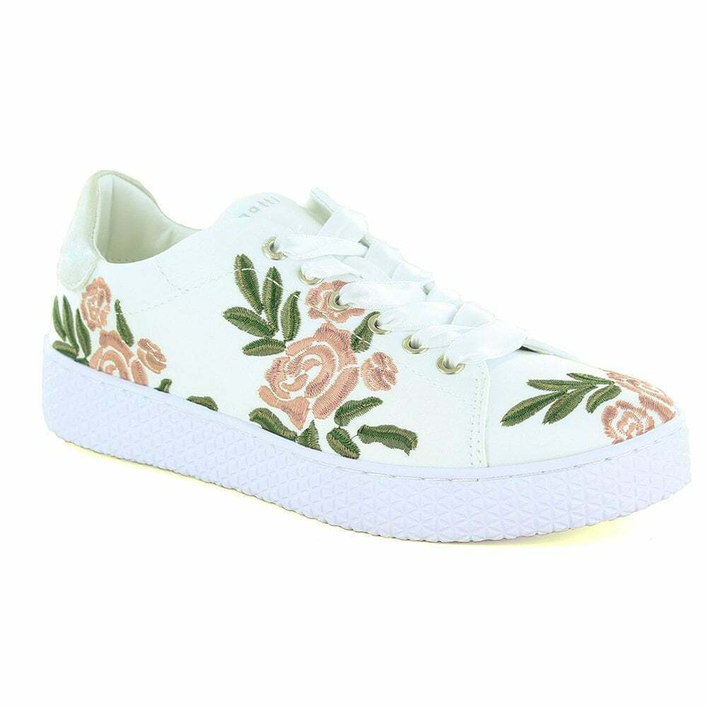 Bugatti 431-52509 Womens Leather And Textile Fashion Trainers - Off White Lace